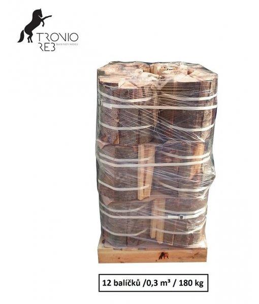 Luxusní suché krbové dřevo - 0,3 PRMR - 33cm buk / 12 balíčků Tronio Reb po 15 kg
