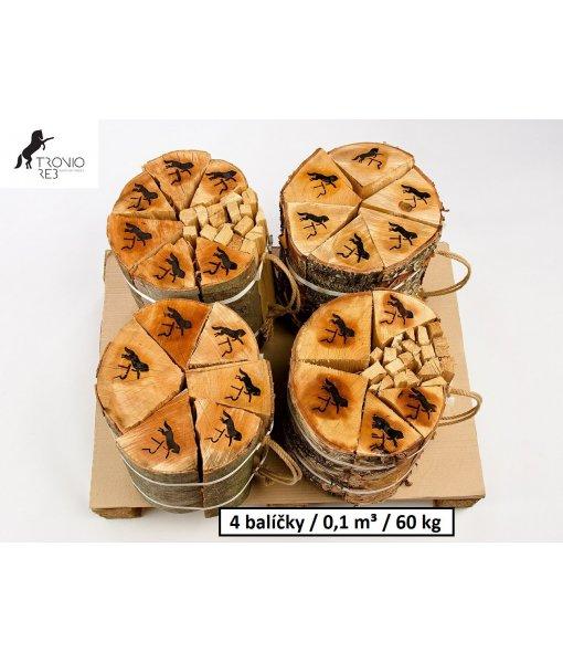 Luxusní suché krbové dřevo - 0,1 PRMR - 33cm jasan / 4 balíčky Tronio Reb po 15 kg