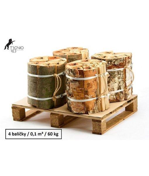 Luxusní suché krbové dřevo - 0,1 PRMR - 33cm jasan/bříza / 4 balíčky Tronio Reb po 15 kg