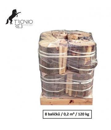 Luxusní suché krbové dřevo - 0,2 PRMR - 33cm jasan / 8 balíčků Tronio Reb po 15 kg