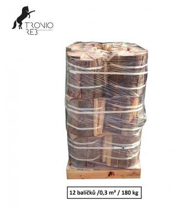 Luxusní suché krbové dřevo- 0,3 PRMR- 33cm buk/bříza/jasan/ 12 balíčků Tronio Reb po 15 kg