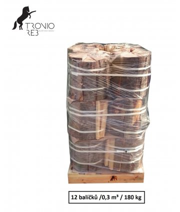Luxusní suché krbové dřevo -0,3 PRMR- 33cm habr/bříza/buk/ 12 balíčků Tronio Reb po 15 kg