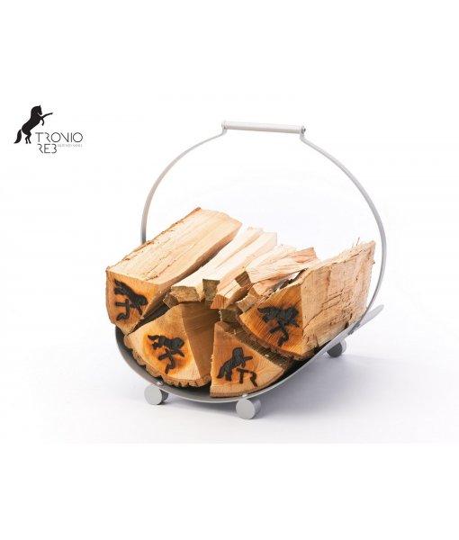 Koš na 33 cm krbové dřevo - Tronio Reb - stříbrný/komaxit TR - KKD04