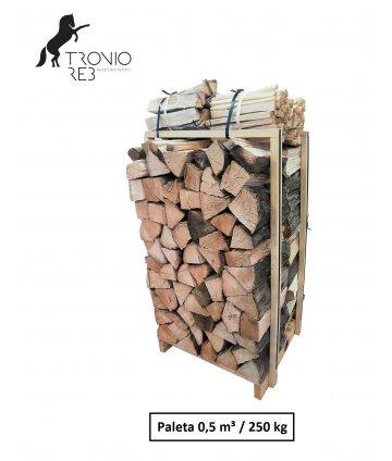 Suché krbové dřevo - Buk - 50 cm - Tronio Reb - Economy - paleta  0,5 PRMR