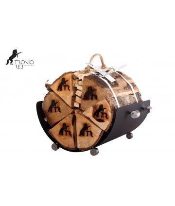 Koš na dřevo + krb. nářadí . krbové příslušenství Tronio Reb - 2 dílný designový set